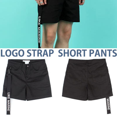 STRAP BELT BLACK SHORT PANTS