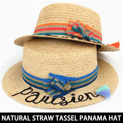 delayed entry)NATURAL STRAW TASSEL PANAMA HAT