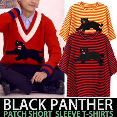 BTS V STYLE!BLACK PANTHER PATCH SHORT SLEEVE T-SHIRTS