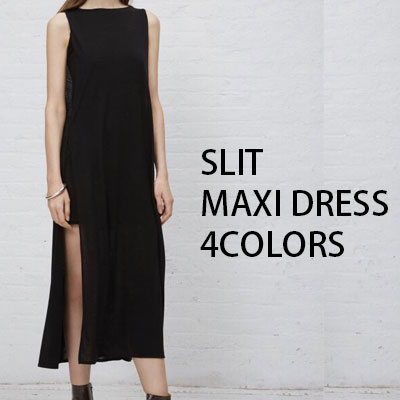 【FEMININE : BLACK LABEL】SLIT MAXI DRESS/3COLOR