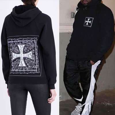 KANYE WEST st! SQUARE CROSS PULL OVER HOODIE