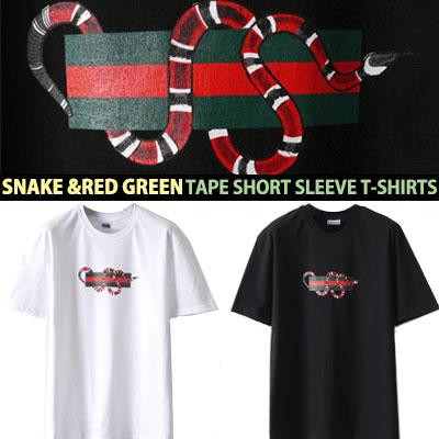 SNAKE & RED GREEN TAPE SHORT SLEEVE T-SHIRTS