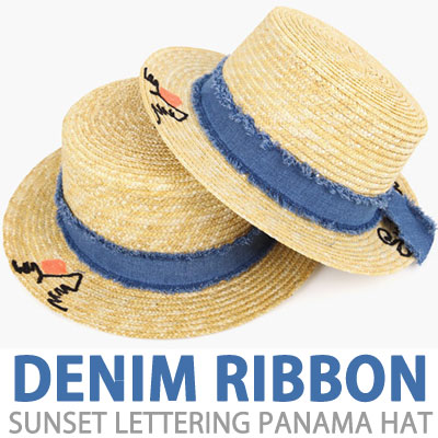 DENIM RIBBON SUNSET LETTERING PANAMA HAT