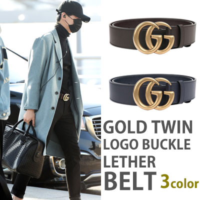 GOLD TWIN LOGO BUCKLE LETHER BELT/BTS/SUGA/