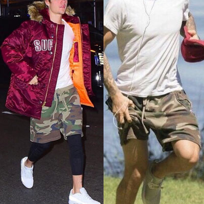 [riri zipper]JUSTIN BIEBER st! CAMO PATTERN SHORT SWEAT PANTS