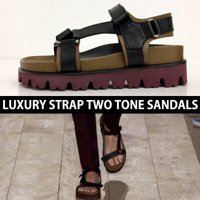 LUXURY style/STRAP TWO TONE SANDALS