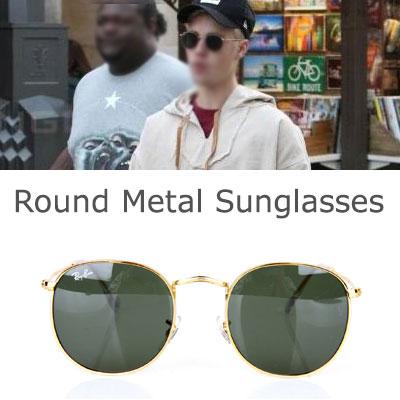 Jun ji-hyun,Kim go-eun,Justin Bieber,Zion T style! Round Metal Sunglasses