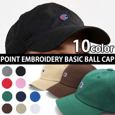 [10color]POINT EMBROIDERY BASIC BALL CAP