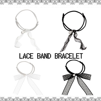 Lace Bracelet / Wave & Ribbon / Black & White