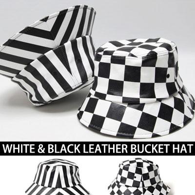 WHITE&BLACK LEATHER PATTERN BUCKET HAT