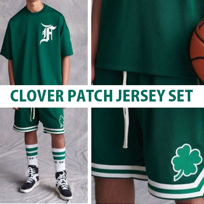 ★SET -5%OFF★Clover Patch Jersey Set / Green