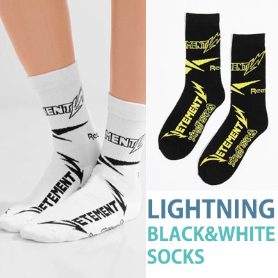 LIGHTNING LOGO BLACK&WHITE SOCKS