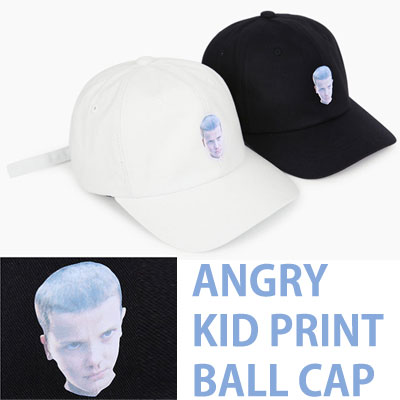 ANGRY KID PRINT SIMPLE BALL CAP