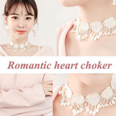 ROMANTIC HEART CHOKER NECKLACE/4COLOR