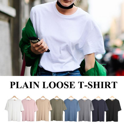 [BASIC SIMPLE LINE] PLAIN LOOSE T-SHIRT/SHORT SLEEVES,8COLORS