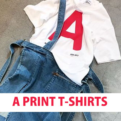 """A"" LOGO PRINTING OVERSIZED SHORT SLEEVE T-SHIRT(BLACK&WHITE)"