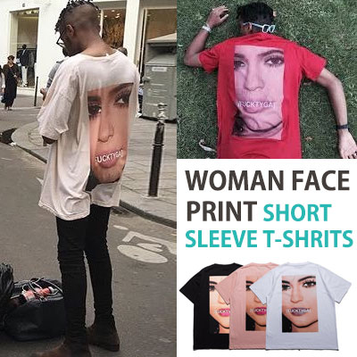 WOMAN FACE PRINT SHORT SLEEVE T-SHIRTS