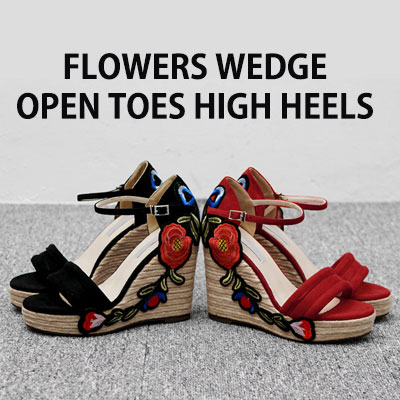 【RANG SHE】 FLOWERS WEDGE OPEN TOE HIGH HEELS/RED,BLACK