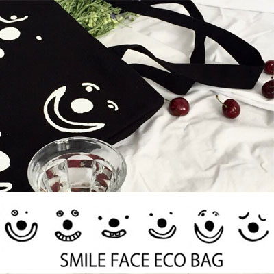 NINE SMILE FACE ECO BAG/IVORY,BLACK