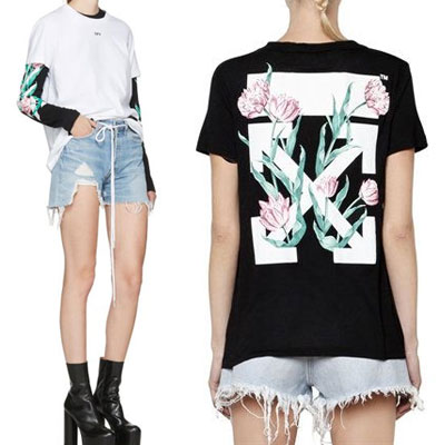 Rose flower back print short sleeve T-shirt (WHITE, BLACK)