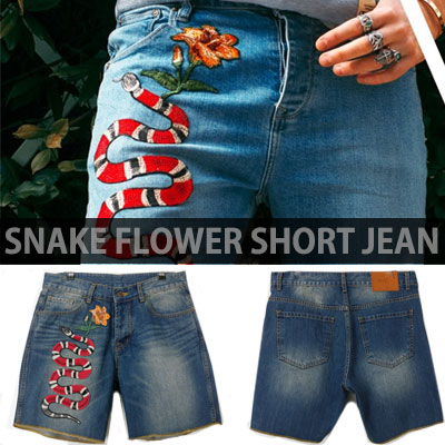SNAKE FLOWER EMBROIDERY SHORT JEANS/DENIM