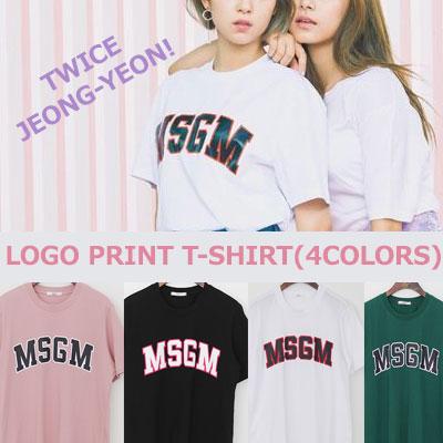 TWICE JEONG-YEON STYLE! LOGO PRINT T-SHIRTS(WHITE/PINK/GREEN/BLACK)