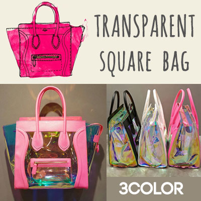 TRANSPARENT SQUARE TOTE&SHOULDER BAG
