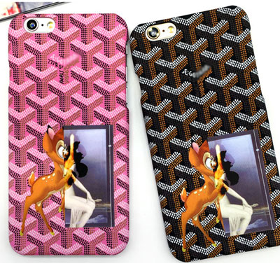 Character pattern case / pink / brown / i-phone 6s / 6s +