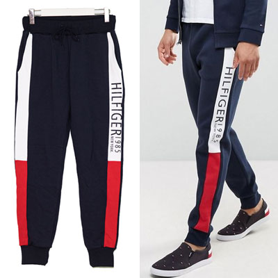 RED&NAVY&WHITE COLOR BLOCK JOGGER