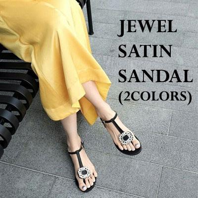 JEWEL SATIN SANDAL/BLUE GREEN,BLACK