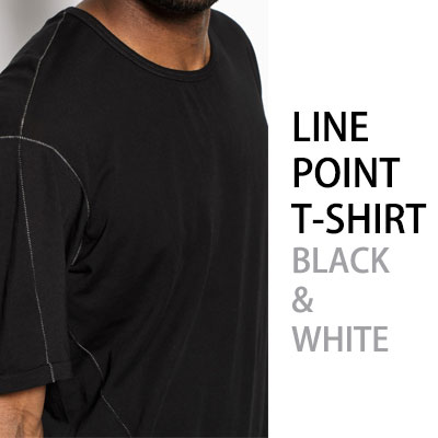LINE EMBROIDERY POINT T-SHIRT/BLACK&WHITE