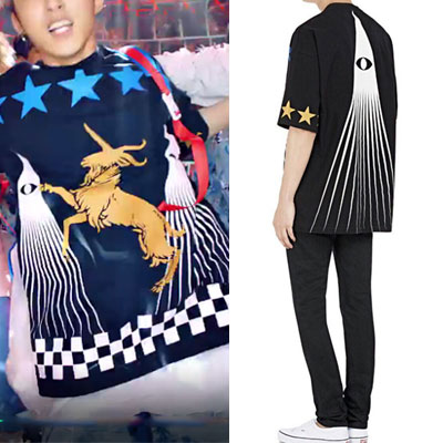 k-pop idol ikon st.BLUE STAR AND GOAT PRINT SHORT SLEEVE T-SHIRTS