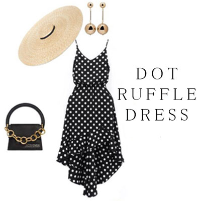 【FEMININE : BLACK LABEL】DOT RUFFLE DRESS