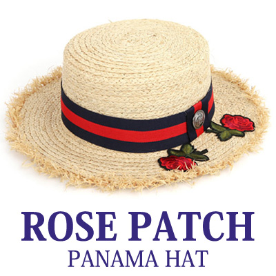 ROSE PATCH PANAMA HAT