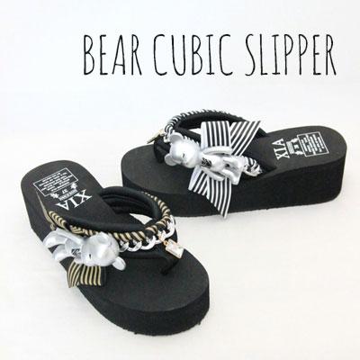 BEAR CUBIC SLIPPER(GOLD,WHITE)