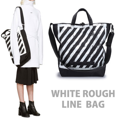 WHITE ROUGH LINE PRINT CANVAS BLACK BAG