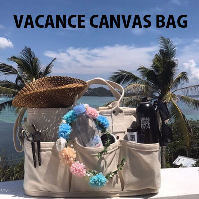 SUMMER VACANCE CANVAS BAG/IVORY