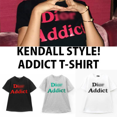 【FEMININE : BLACK LABEL】KENDALL STYLE! ADDICT PRINT T-SHIRT(BLACK/WHITE/GREY)