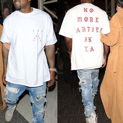 KANYE STYLE! NO MORE PARTIES SHORT SLEEVES T-SHIRT(WHITE)