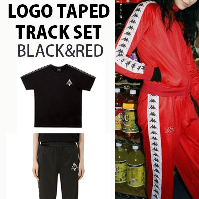 (SET-5%OFF)   LOGO TAPED TRACK SET(BLACK,RED)