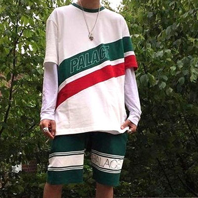 GREEN&RED LINE SHORT SLEEVE T-SHIRTS