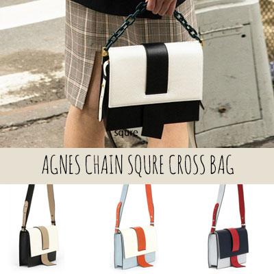 AGNES CHAIN CROSS BAG(BLACK,MINT,GREY)