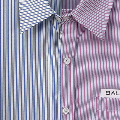 POCKET SQUARE POINT STRIPED SHIRTS(PINK/SKYBLUE)