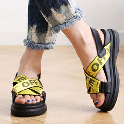 BAND STRAP SANDALS(YELLOW/PINK/SILVER)