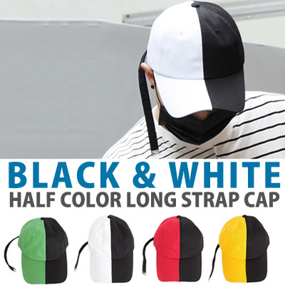 Highlight Yoon DooJun st. BLACK&WHITE HALF COLOR LONG STRAP CAP