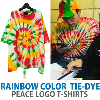 BIGBANG GD/g-dragon,SANDARA st. RINBOW COLOR TIE-DYE PEACE LOGO T-SHIRTS