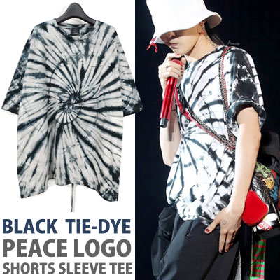 BIGBANG GD/g-dragon st. BLACK COLOR TIE-DYE PEACE LOGO T-SHIRTS
