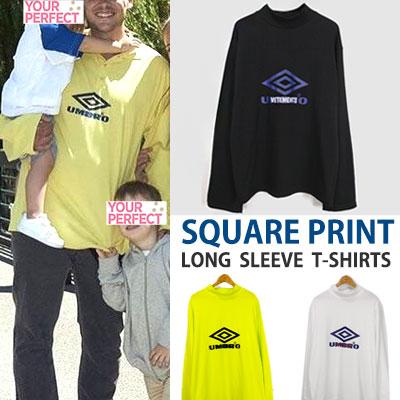SQUARE PRINT LONG SLEEVE T-SHIRTS