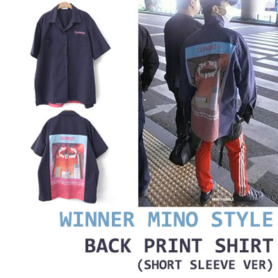 WINNER MINO STYLE! BACK PRINT COTTON SHORT SLEEVE SHIRT(WHITE/NAVY)
