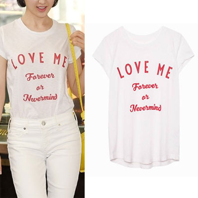 【FEMININE : BLACK LABEL】K-ACTRESS STYLE! LOVE ME LETTEING T-SHIRT(BLACK/WHITE/GREY)